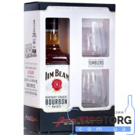Бурбон Джим Бім + 2 склянки, Jim Beam + 2 glasses 0,7 л.