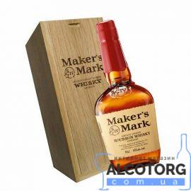 Віскі Мейкерс Марк в деревяній коробці, Maker's Mark 0,7 л.