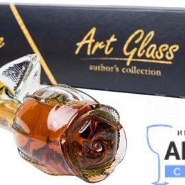 Коньяк Сувенир Роза 5 Звезд без коробки, Art Glass 0,2 Л.