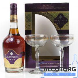 Коньяк Курвуазьє ВСОП в коробці + 2 келихи, Courvoisier VSOP + 2 glasses 0,7 л.