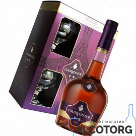 Коньяк Курвуазьє ВС + 2 келихи, Courvoisier VS + 2 glasses 0,7 л.