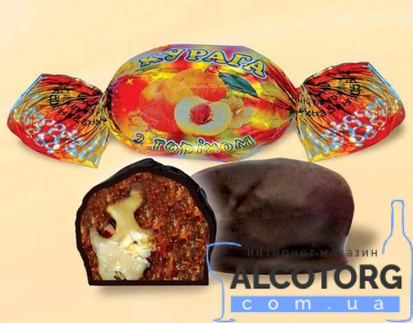 (Русский) Конфеты Курага с орехом в шоколаде Аметист 1 кг.