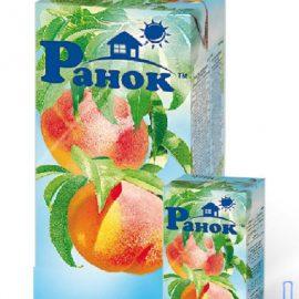 Сік персиковий з м'якоттю Ранок 0,2 л.