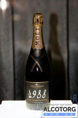 Шампанське Моєт Шандон Брют Вінтаж 1988 в коробці біле сухе