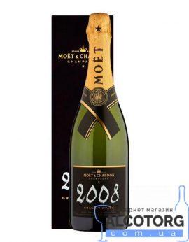 Шампанское Моет Шандон Брют Винтаж 2008 в коробке белое сухое, Moet + Chandon Brut Vintage 2008 gift box 0,75 л.