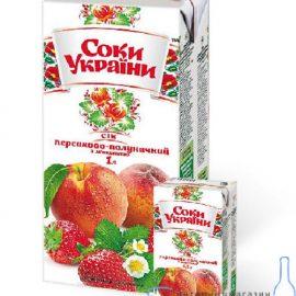 Сік персик-полуниця з м'якоттю Соки України 1 л.