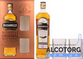 Віскі Бушміллс Оріджинал + 2 стакана в коробці, Bushmills Original + 2 glasses 0,7 Л.