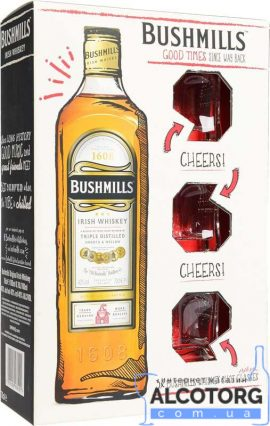 Віскі Бушміллс Оріджинал + 3 стакана в коробці, Bushmills Original + 3 glasses 0,7 Л.