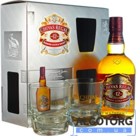 Віскі Чівас Рігал 12-років в подарунковій коробці + 2 склянки, Chivas Regal 12 years old + 2 glasses with box 0,7 л.