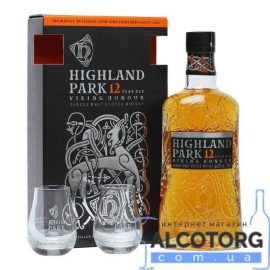 Віскі Хайленд Парк 12 років + 2 стакана, Highland Park 12 years + 2 glasses 0,7 л.