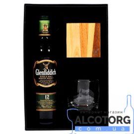 Віскі Гленфіддік 12 років + бокал та підставка під бокал в коробці, Glenfiddich 12 Years + glasses 0,7 л.