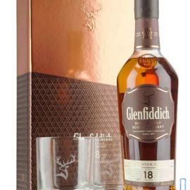 Віскі Гленфіддік 18 років + 2 бокала, Glenfiddich 18 years Old + 2 glasses 0,7 л.