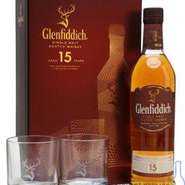 Віскі Гленфіддік 15 років + бокал та підставка під бокал в коробці, Glenfiddich 15 Years + glass 0,7 л.