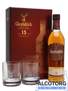 Віскі Гленфіддік 15 років + бокал та підставка під бокал в коробці
