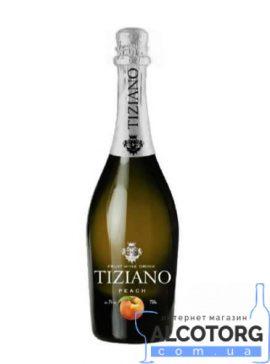 Ігристий Винний Напій Тіціано Персик Біле Напівсолодке, Tiziano Sparkling Peach 0,75 Л.