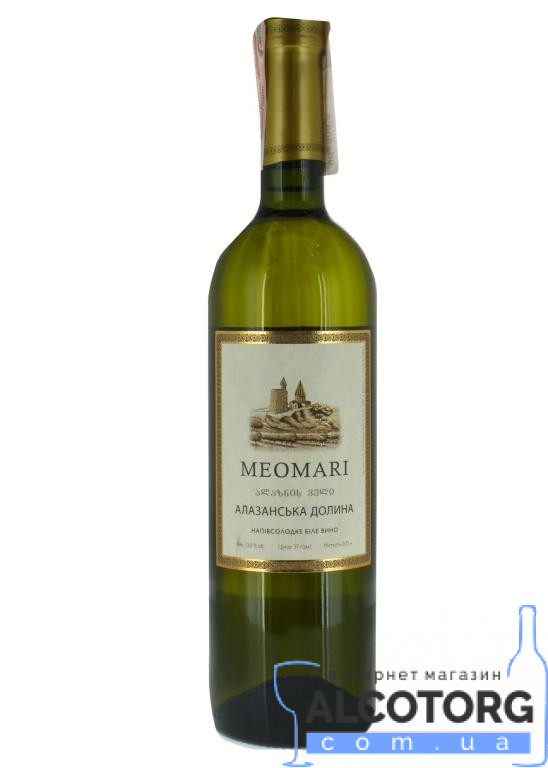 (Русский) Вино Алазанская Долина белое полусладкое Meomari 0,75 л.