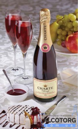 Вино ігристе Шарте Мускат Рожеве напівсолодке, Charte Muskato Rose 0,75 л.