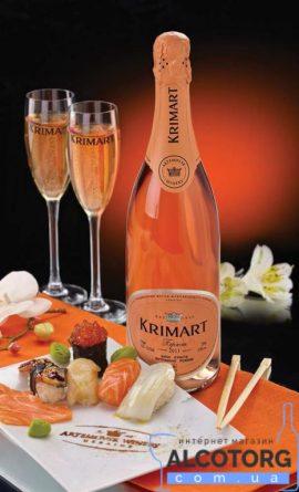 Вино ігристе Крімарт Рожеве тубус брют, Krimart Rose brut 0,75 л.