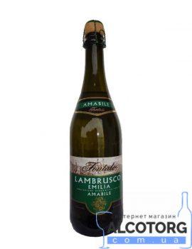 Вино Ігристе Ламбруско Емілія Біле Напівсолодке Фонтале, Lambrusco Emilia Fontale 0,75 Л.