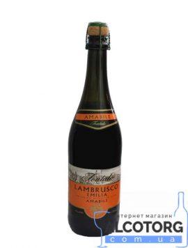 Вино ігристе Ламбруско Емілія червоне напівсолодке Фонтале, Lambrusco Emilia Fontale 0,75 л.