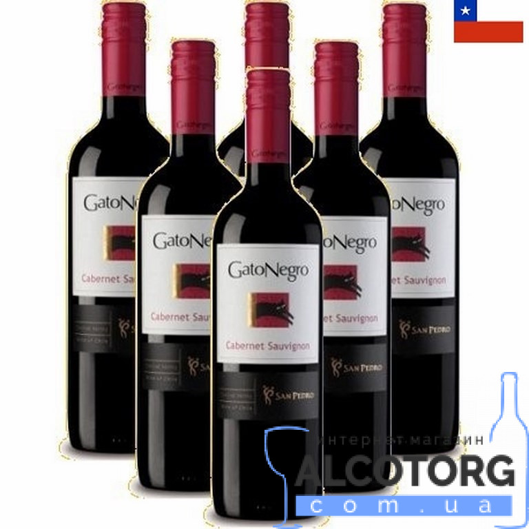 (Русский) Вино Каберне Совиньон Гато Негро красное сухое, Cabernet Sauvignon Gato Negro 0,75 л.