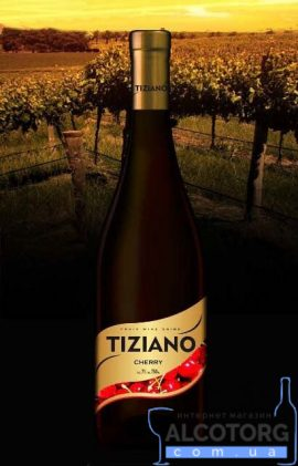 Вино Тіціано Вишня Червоне Напівсолодке, Tiziano Cherry 0,75 Л.
