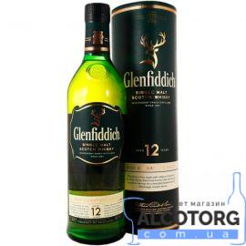 Віскі Гленфіддік 12 років в металевому тубусі, Glenfiddich 12 years old 0,7 л.