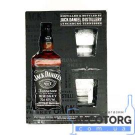 Віскі Джек Деніелс + 2 бокала в картоній коробці, Jack Daniel's + 2 glasses 0,7 л.