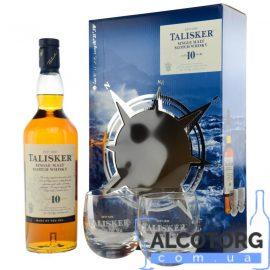 Віскі Таліскер 10-річний + 2 склянки, Talisker malt 10 years old with box + 2 glasses 0,7 л.