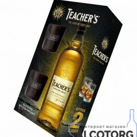 Віскі Тічерс + 2 келихи, Teacher's + 2 glasses 0,7 л.