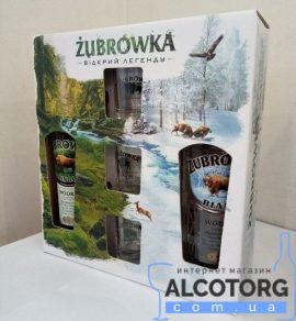 Горілка Зубровка Бяла, Зубровка Соснова+ 3 чарки0,5 л, Zubrovka Byala, Zubrowka Pedy Sosny + 3 glasses 0,5 л.