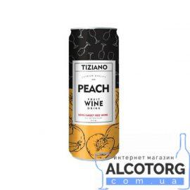 Напій винний слабоалкогольний ігристий Тіціано білий солодкий зі смаком персика, Tiziano 0,25 л.