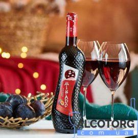 Вино Мікадо Червона Слива Червоне солодке, Mikado 0,7 л.