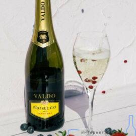 Вино ігристе Вальдо Просекко Екстра сухе Спуманте Бьянко біле, Valdo Prosecco DOC Extra dry Spumante Bianco 0,75 л.
